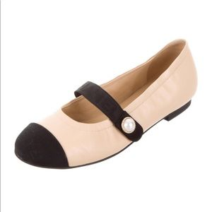 Chanel Beige and Black Cap Toe Mary Janes